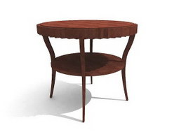 European style wooden coffee table 3d model