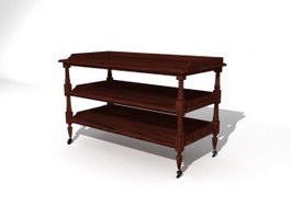 Living Room Solid wood Storage Rack 3d model