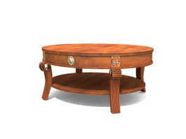 Hand carved antique round coffee table 3d model