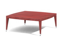 Wooden Sofa table short legs square table 3d model