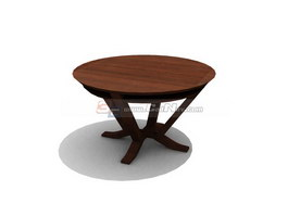 Wood antique table round coffee table 3d model 3dmax 3ds for Coffee table 3d model