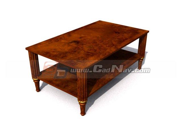 antique wood coffee table 3d model 3dmax 3ds files free download modeling 3268 on cadnav. Black Bedroom Furniture Sets. Home Design Ideas