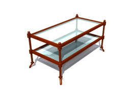 Wood Frame Glass Coffee Table 3d model