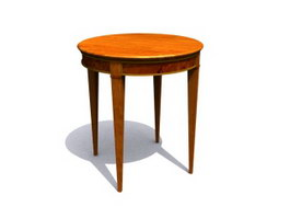 Antique Furniture Wooden Round End Table 3d model