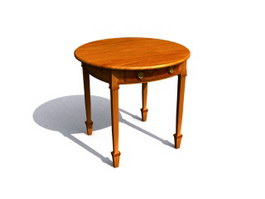 Round wooden antique side table 3d model