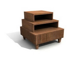 Wooden Shoe Rack 3d model