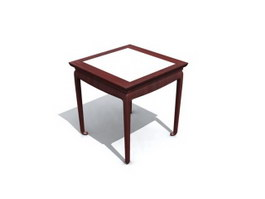 Marble top wooden dining table 3d model
