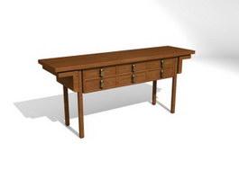 Wood Furniture Antique Console Table 3d model