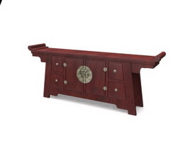 Antique console table with drawer 3d model