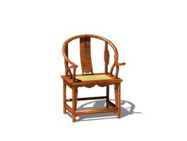 Carved antique wood chair 3d model
