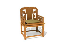 Antique Furniture Chinese Style Wood Chair 3d model