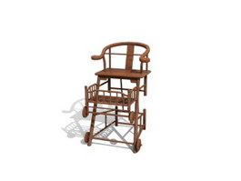Wooden Baby Chair 3d model