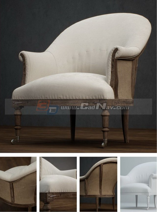 Home Furniture Fabric Armchair 3d Model 3DMax Files Free