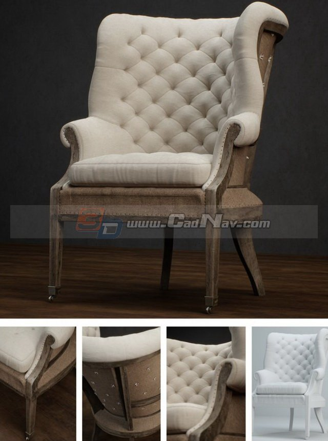 3d Models For Poser And Daz Studio: Antique Furniture Living Room Sofa Chair 3d Model 3DMax