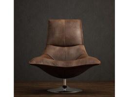 Antique Leather Tulip Chair 3d model