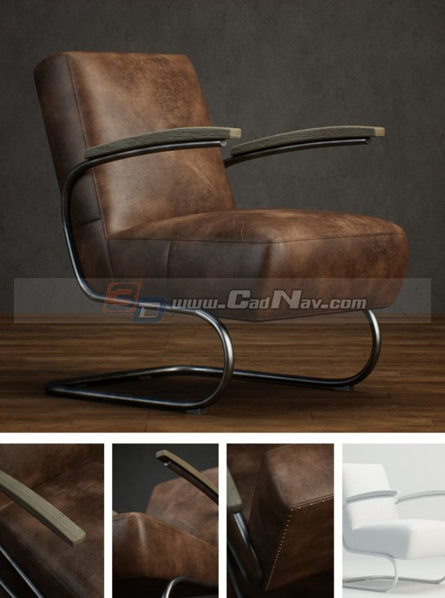 Leather Cantilever Chair For Living Room 3d Model 3dmax