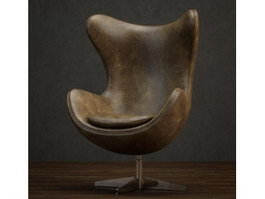 Leather Swivel Egg Chair 3d model