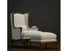 Antique Lounge Chair and Footstool 3d model