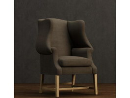 Straight-back Leisure armchair 3d model