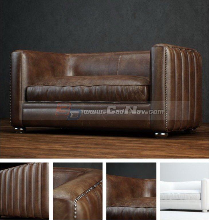 Great Italian Leather Sofa Chair 3D Model