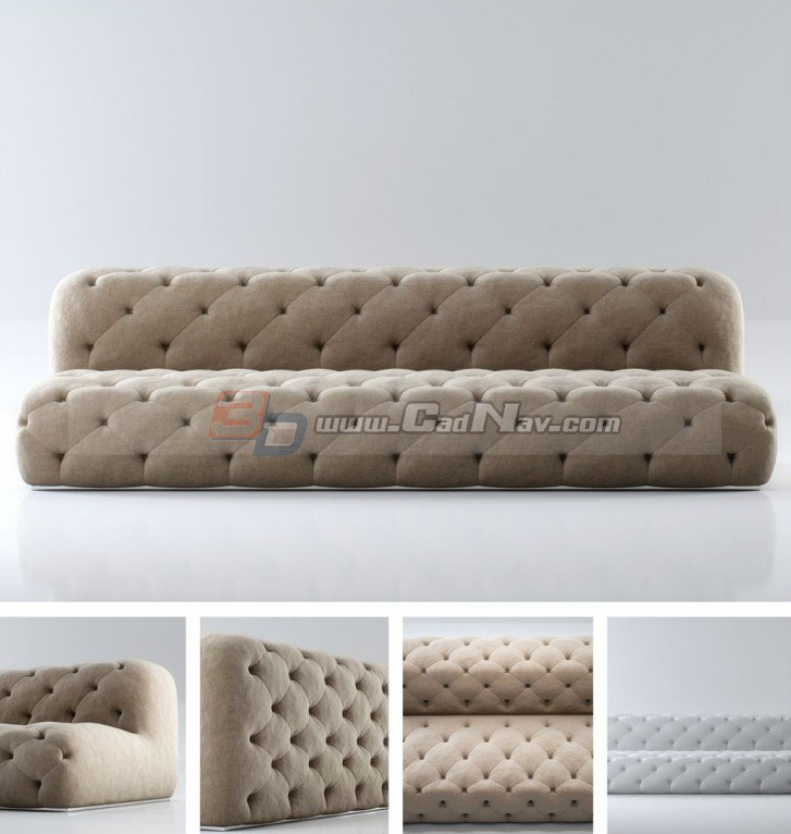 Fabric Chesterfield Sofa 3d Model 3dmax Files Free