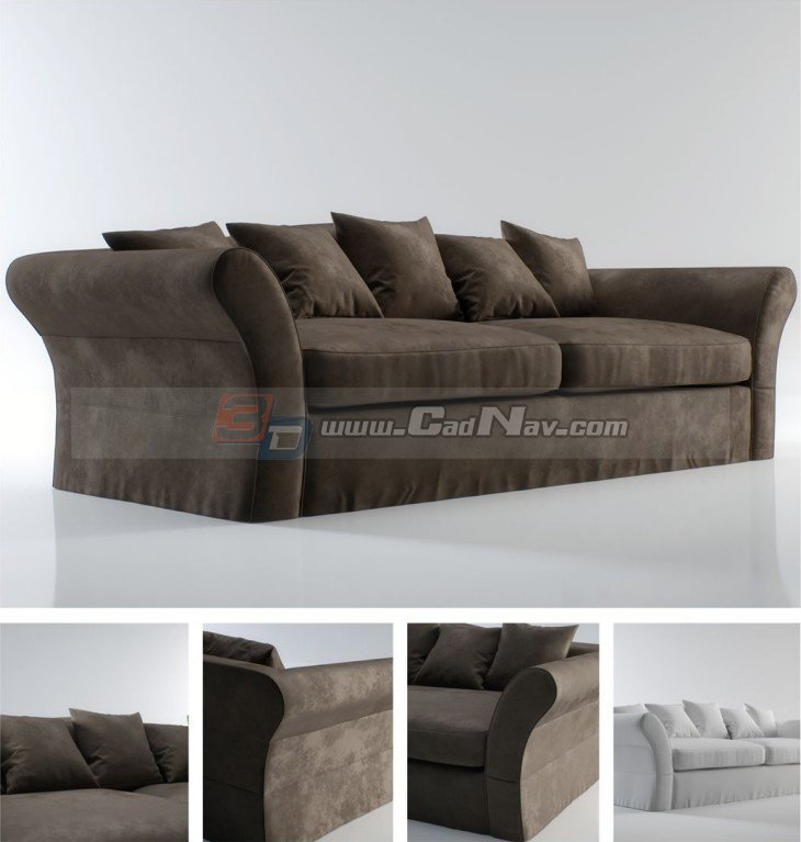 Bon Ikea Style Fabric Sofa 3D Model
