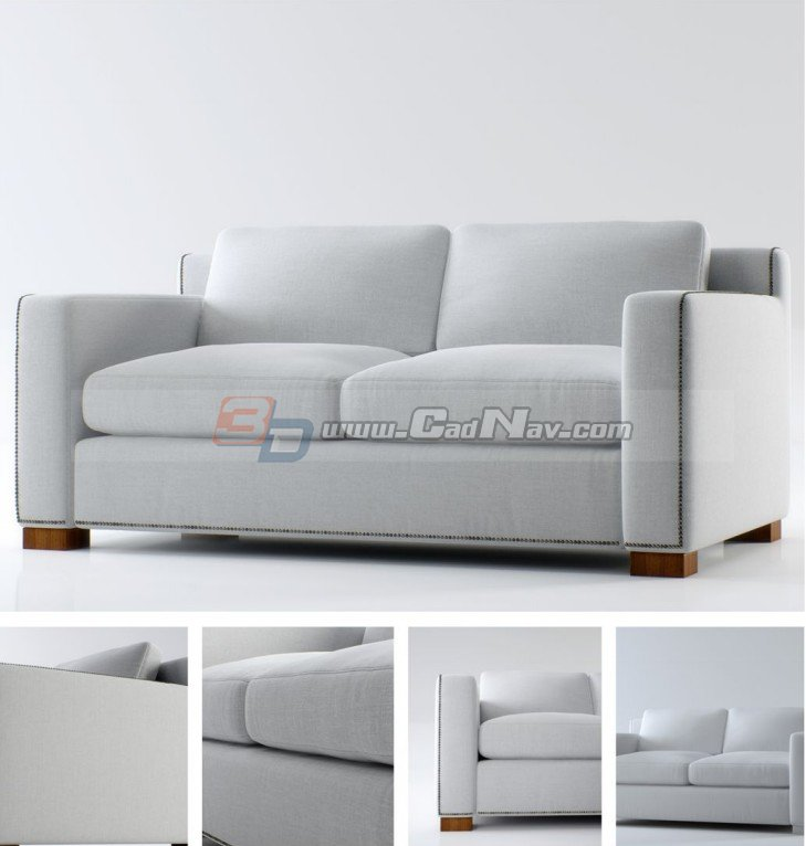 European Style Fabric Two Seater Sofa 3d Model 3dmax Files