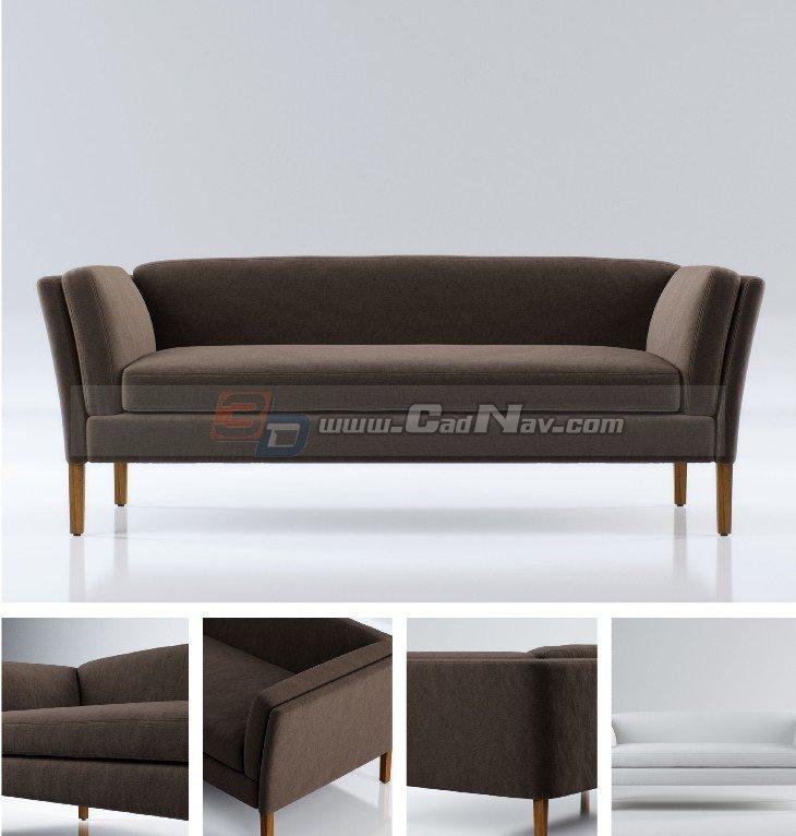 Wood Frame Sofa Bed 3d Model