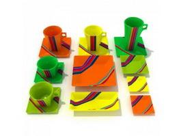 Plastic bowls and plates 3d model