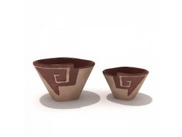 Clay ceramic salad bowl 3d model