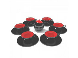 Ceramic vintage tea set for adult 3d model
