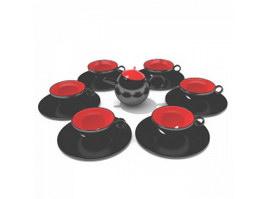 Ceramic vintage tea set for adult 3d model