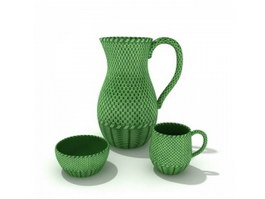 Ceramic water jar and cups 3d model
