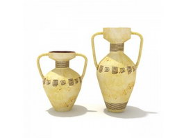 Antique Decorative ceramic water pots 3d model