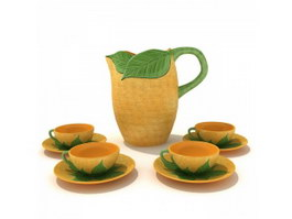 Terracotta vintage tea set with saucers 3d model