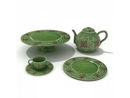 Hand Painted Ceramic Tea Set Cups and Saucers 3d model