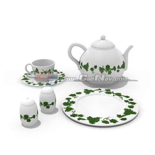 Pottery tea set 3d rendering