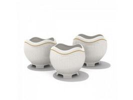 Porcelain Sugar and Creamer Pots 3d model
