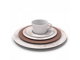 Printed Ceramic Plate and Cup 3d model