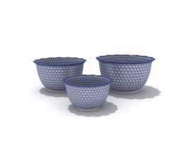 Blue and white porcelain dinnerware Tureens 3d model