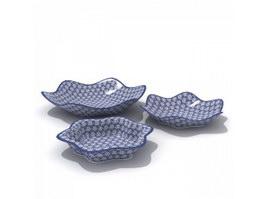 Plain porcelain Deep Plates 3d model