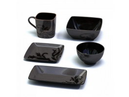 Clay Tableware set Bowl Cup and Plates 3d model