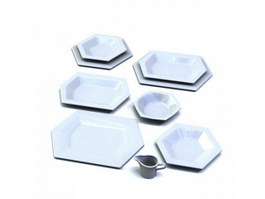 Hexagonal ceramic plates set 3d model