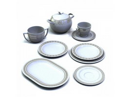 Ceramic coffee set and pastry plates 3d model