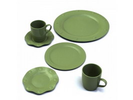 Terracotta Coffee Cups and Saucers Flat Plate 3d model