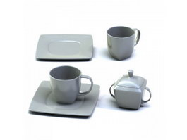 Coffee Cups and Saucers,Sugar Pot 3d model