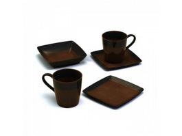 Clay Coffee Cups and Saucers 3d model