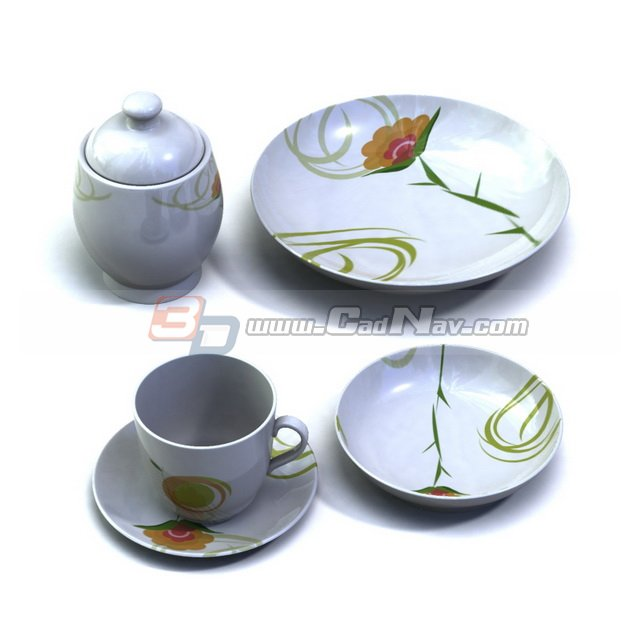 Porcelain sugar pot, dessert plate, cup and saucer 3d model 3DMax