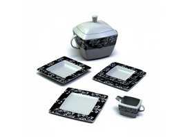 Porcelain dip dishes and sugar pot 3d model