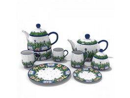 Hand-painted Ceramic Coffee Tea Set 3d model